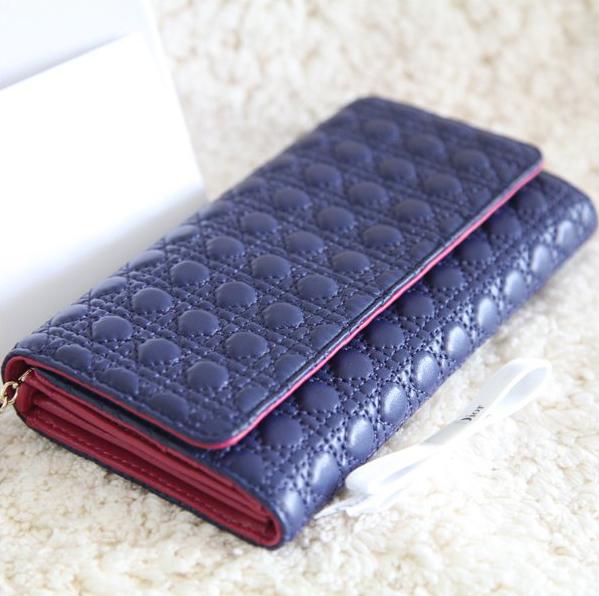 Бумажник D новые импортированные овцы одежда линии оригинальные украшения 20 процентов среди малых кошельки вокруг бумажник слива/глубокий синий Длинный бумажник Девушки Овечья кожа