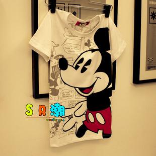 香港潮牌 拇指米鼠印花纯棉卡通短袖T恤 男女装