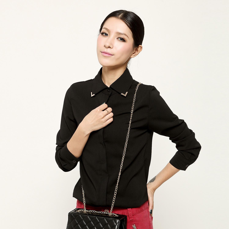 женская рубашка YOKO.STYLE [101957] Городской стиль Длинный рукав Однотонный цвет