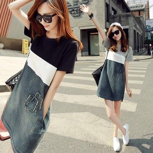 香港韩国潮流牛仔短袖显瘦连衣裙女装中长款宽松T恤