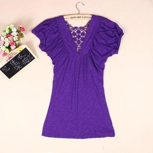 2014夏季女装蕾丝镂空V领大码T恤纯棉泡泡袖中长款短袖上衣
