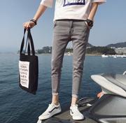 秋季男裤子潮流2018百搭男生港风九分牛仔裤小脚9分