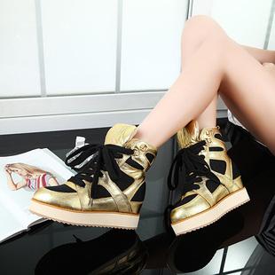 欧洲站2014秋冬女鞋系带金色内增高运动鞋高帮鞋女潮