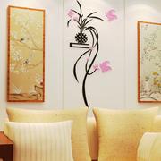 吊兰花藤3d水晶亚克力立体墙贴客厅沙发电视背景墙玄关花卧室墙饰