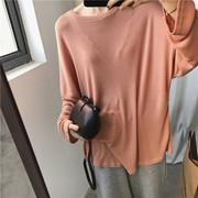 自留 很显瘦oversize薄款慵懒蝙蝠袖纯色圆领长袖T恤tee上衣