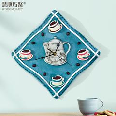 慧心巧聚原创经典咖啡艺术墙壁装饰挂钟树脂静音仿布纹厨房时钟
