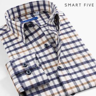 SmartFive 法兰绒衬衫男长袖商务纯棉磨毛中年男格子加厚衬衣