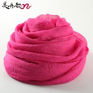 玫红色丝巾女春秋季百搭纯色纱巾方巾薄长款雪纺围巾夏季超大披肩