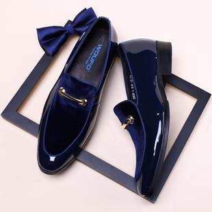 欧美男公务正装皮鞋真皮尖头英伦潮磨砂漆亮皮面套脚天宝蓝色