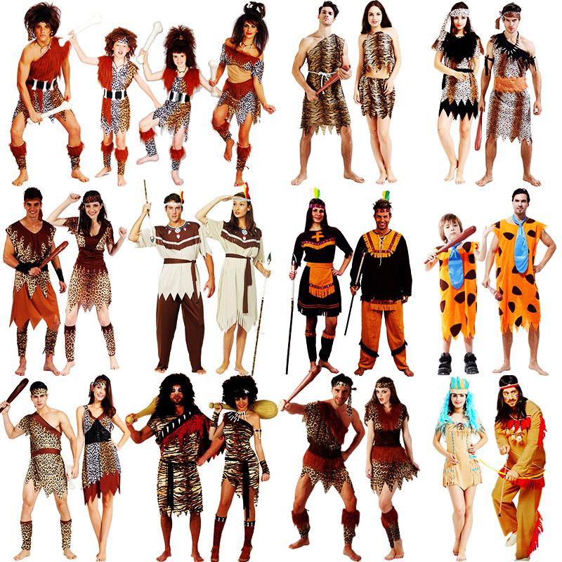万圣节服装土著原始人cosplay演出服成人男女印第安豹纹野人衣服
