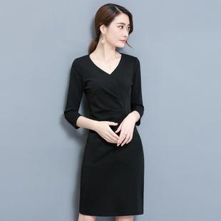 2018秋季大码女装显瘦中长款V领褶皱包臀职业连衣裙