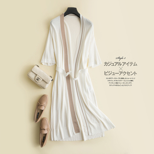 西旋针织开衫女中长款夏薄款冰丝外套防晒衫外搭短袖空调衫
