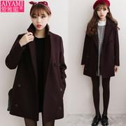 中长款秋冬外套韩国小个子女毛呢外套学生学院风加厚呢子大衣