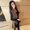 2014春秋装欧美大牌拼接长袖开衫女式风衣中长款外套