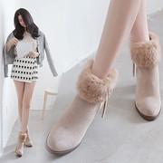 雪地靴女短筒2018冬季加绒圆头毛毛鞋高跟棉鞋粗跟女兔毛短靴
