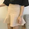 春夏女装韩国高腰显瘦包臀裙A字裙木耳荷叶边半身裙短裙学生裙子