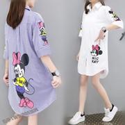 夏季衬衫韩版中长款大码女装宽松文艺韩范条纹印花短袖上衣潮