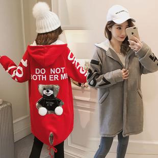 18秋冬装12少女孩13-15岁中学生16中长款加绒加厚卫衣17保暖外套