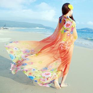 丝巾女春长款印花百搭空调披肩夏季海边防晒沙滩巾雪纺围巾