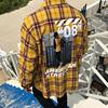 韩国男装东大门后背字母图案贴图混色格纹衬衫宽松外套