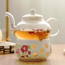 陶瓷花茶壶 花茶具花茶杯玻璃花草水果花果茶壶耐热蜡烛加热套装