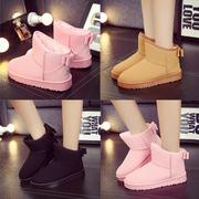 冬季雪地靴磨砂潮女鞋平底短筒短靴防水加绒加厚保暖棉鞋女靴