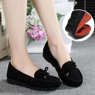 春季老北京布鞋女鞋平跟平底单鞋工作鞋孕妇妈妈鞋豆豆鞋子女