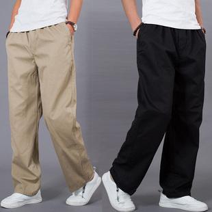 春款裤男 宽松 松紧腰男士加肥加大码工装裤 肥佬裤直筒长裤
