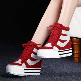 2014秋冬范百丽时尚高帮女鞋松糕厚底内增高真皮小码单鞋