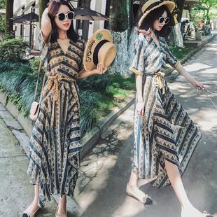 波西米亚长裙女夏泰国海边度假沙滩裙巴厘岛碎花雪纺连衣裙套装女