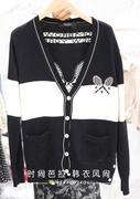 韩国进口 东大门订购女双兜撞色拼接后背网球拍装饰针织开衫 外套