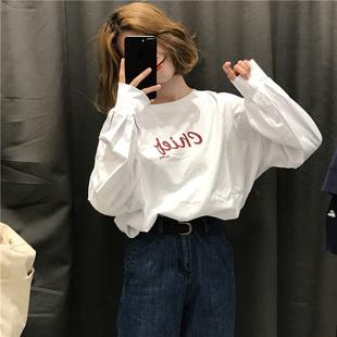 春季女装宽松百搭显瘦字母套头长袖T恤中长款体恤上衣潮
