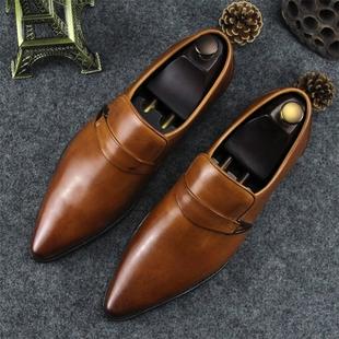 英伦商务正装真皮皮鞋尖头套脚头层牛皮男鞋个性潮流单鞋