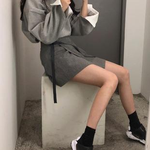 秋冬绑带不规则半身裙 系带显瘦ins条纹高腰短裙女学生A字裙