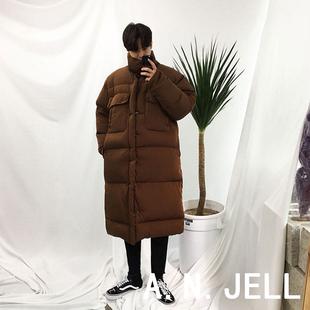 韩国ulzzang男装17冬东大门加厚过膝长款宽松面包服棉衣外套