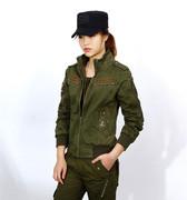 女上衣夹克春秋军装JEEP户外女装军绿色纯棉工装外套