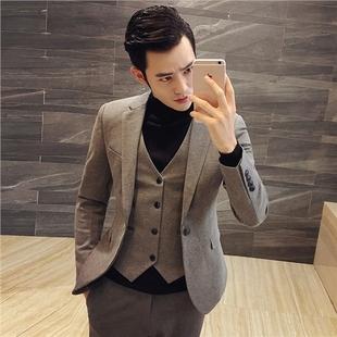 秋冬男士西装套装发型师西服三件套结婚礼服小码男装潮流