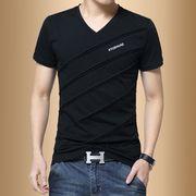 男士短袖T恤V领夏季潮流男装半袖学生衣服体恤打底衫