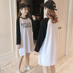 宽松大码中长款长袖t恤裙白色胖mm纯棉字母体恤打底衫上衣女装春