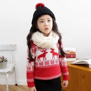韩国童装女童秋冬装2014 圣诞麋鹿雪花儿童毛衣针织衫0