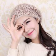 精纺小豹纹贝雷帽 天使之城女士秋季冬天 豹纹兔毛贝雷帽子 保暖