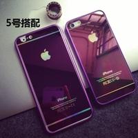 金属边框+电镀镜面苹果钢化玻璃贴膜 iPhone66plus55S手机壳新