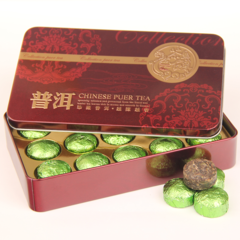 云南普洱茶 铁盒装普洱 迷你小沱茶 茶叶 特级糯香小金沱生茶