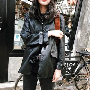JHXC 皮衣女学生秋季2018宽松黑色pu外套显瘦机车服夹克