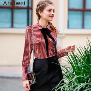 长袖加绒衬衫女2017秋冬装蝴蝶结衬衣韩范气质条纹打底衫上衣
