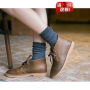 情侣简约粗线韩系男女堆堆袜复古民族风森系中长筒短靴棉袜子