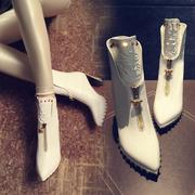 欧洲站超高跟尖头短靴潮欧美春秋冬季粗跟单靴铆钉真皮女靴子白色