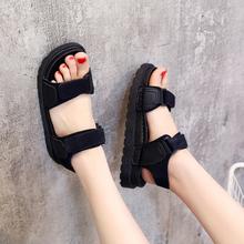 2019夏季凉鞋女鞋学生时尚潮沙滩鞋露趾低跟松糕
