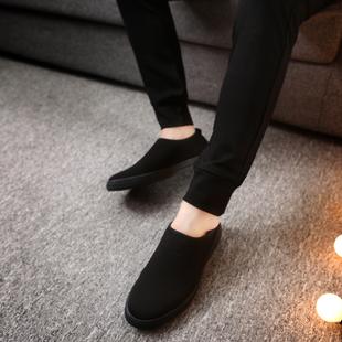 男鞋秋季套脚帆布鞋男黑色透气板鞋懒人一脚蹬豆豆鞋子男