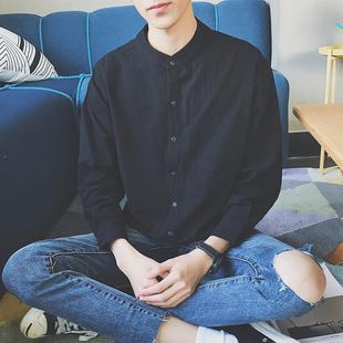 长袖衬衫外套男士秋季潮流帅气薄款春秋衬衣男装学生